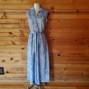 1970s Kay Windsor Pale Blue Polyester Maxi Dress